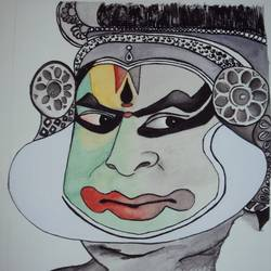 kathakali, 10 x 12 inch, ashwini ds,paintings,figurative paintings,paintings for living room,handmade paper,watercolor,10x12inch,GAL042089594