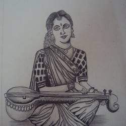 lady playing veena, 7 x 10 inch, ashwini ds,portrait drawings,paintings for living room,vertical,handmade paper,graphite pencil,7x10inch,GAL042089596