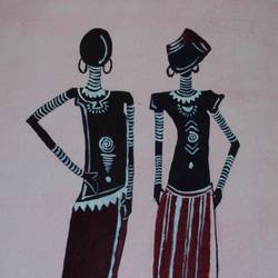 warli tribal art, 7 x 10 inch, ashwini ds,folk art paintings,paintings for living room,vertical,handmade paper,fabric,7x10inch,GAL042089598
