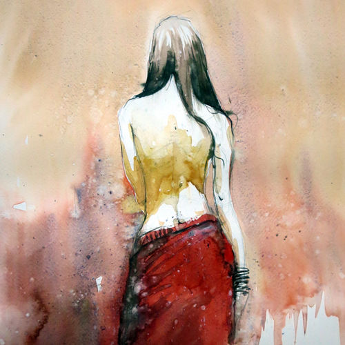 lonely, 21 x 15 inch, sankar thakur,figurative paintings,paintings for living room,fabriano sheet,watercolor,21x15inch,GAL0796