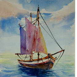 boat on the sea, 7 x 10 inch, periasamy samikannu,paintings,landscape paintings,paintings for living room,arches paper,watercolor,7x10inch,GAL041149614