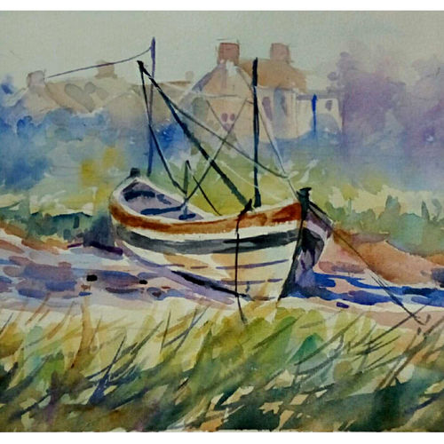 boat on the land, 7 x 11 inch, periasamy samikannu,paintings,landscape paintings,paintings for living room,arches paper,watercolor,7x11inch,GAL041149615