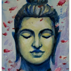 buddha, 7 x 11 inch, periasamy samikannu,paintings,buddha paintings,paintings for living room,arches paper,watercolor,7x11inch,religious,peace,meditation,meditating,gautam,goutam,buddha,face,smiling,flowers,GAL041149616