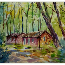 cottage into the woods, 11 x 7 inch, periasamy samikannu,paintings,landscape paintings,paintings for living room,arches paper,watercolor,11x7inch,GAL041149617