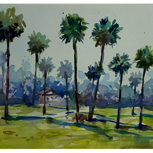 palm trees in the village, 11 x 7 inch, periasamy samikannu,paintings,landscape paintings,paintings for living room,arches paper,watercolor,11x7inch,GAL041149618