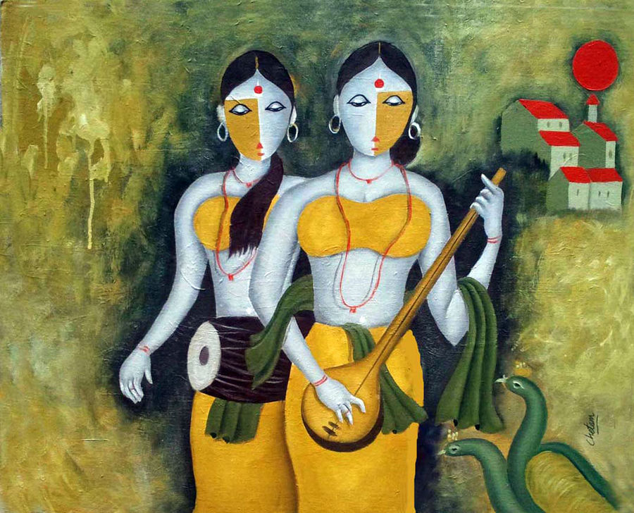 sakhi, 30 x 24 inch, chetan katigar,figurative paintings,paintings for living room,canvas,oil,30x24inch,GAL0266962