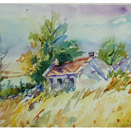 cottage in the mountain, 11 x 7 inch, periasamy samikannu,paintings,landscape paintings,paintings for living room,arches paper,watercolor,11x7inch,GAL041149620