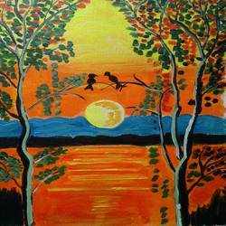 the tree and the sunset, 12 x 16 inch, abhik mahanti,paintings,landscape paintings,paintings for living room,canvas,acrylic color,12x16inch,GAL040449624