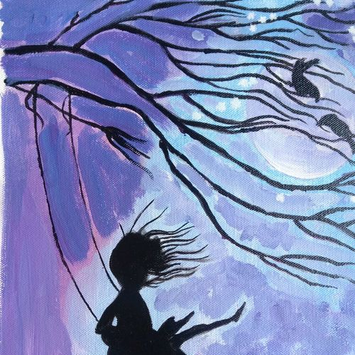 the swing and the girl, 12 x 16 inch, abhik mahanti,paintings,figurative paintings,paintings for office,canvas,acrylic color,12x16inch,GAL040449626