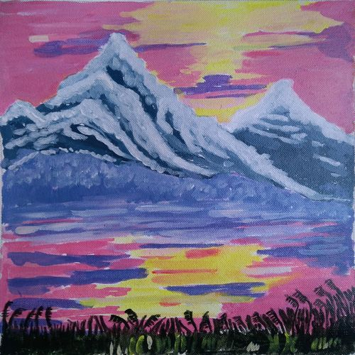 the himalayan range, 12 x 14 inch, abhik mahanti,paintings,nature paintings,paintings for living room,canvas,acrylic color,12x14inch,GAL040449627Nature,environment,Beauty,scenery,greenery,himalaya,mountain,water,mountains,range