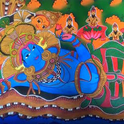 traditional mural, 36 x 84 inch, arjun mc,religious paintings,paintings for living room,kerala murals painting,canvas,acrylic color,36x84inch,GAL042319629