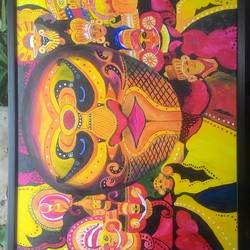 different form of theyyam, 24 x 34 inch, arjun mc,paintings,modern art paintings,paintings for living room,canvas board,acrylic color,24x34inch,GAL042319630
