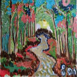 the river and the forest, 16 x 13 inch, abhik mahanti,paintings,landscape paintings,canvas,acrylic color,16x13inch,GAL040449633