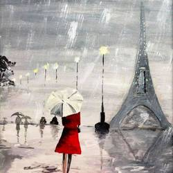 affordable  : an evening in paris, 15 x 20 inch, mamta singh,realism paintings,paintings for living room,canvas,acrylic color,15x20inch,GAL042429639
