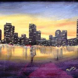 affordable  : citylight, 20 x 15 inch, mamta singh,cityscape paintings,paintings for living room,canvas,acrylic color,20x15inch,GAL042429641