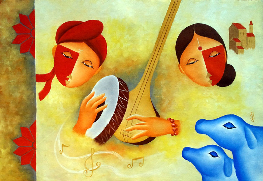 musical love 3 , 35 x 24 inch, chetan katigar,religious paintings,paintings for living room,love paintings,canvas,oil,35x24inch,GAL0266965