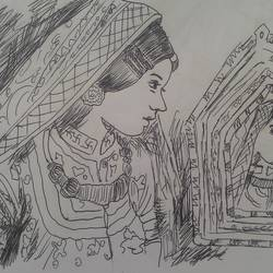 the mirror, 8 x 11 inch, arjun mc,drawings,illustration drawings,paper,ball point pen,8x11inch,GAL042319654