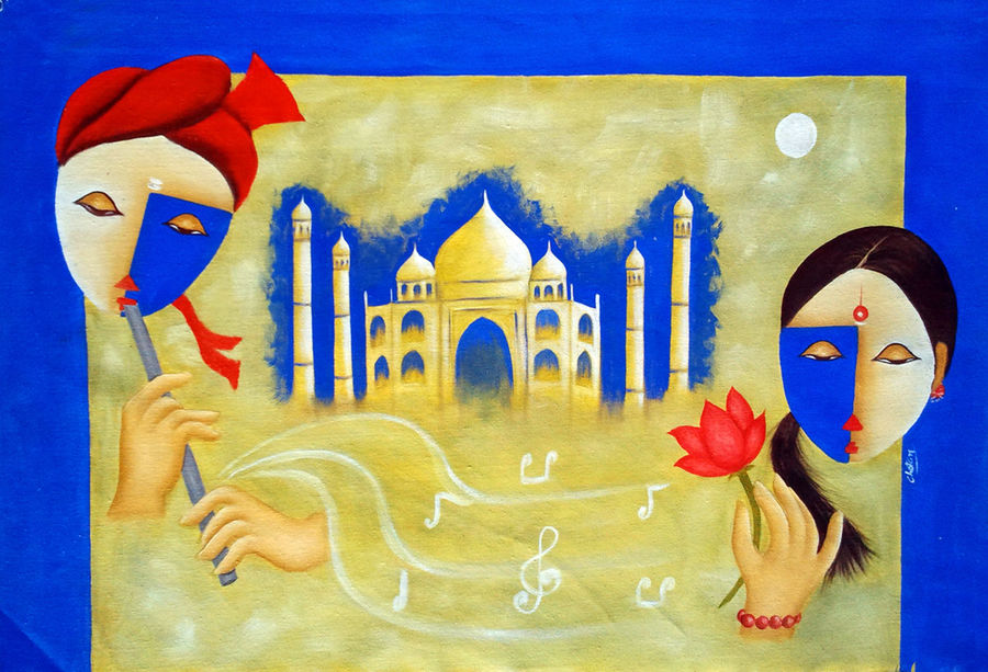 love, 35 x 24 inch, chetan katigar,religious paintings,paintings for living room,love paintings,canvas,oil,35x24inch,GAL0266966