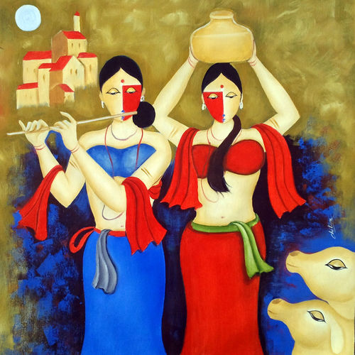 the moon 2, 30 x 30 inch, chetan katigar,figurative paintings,paintings for living room,canvas,oil,30x30inch,GAL0266968