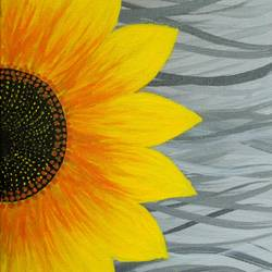 sunflower- canvas, 8 x 10 inch, srishti goyal,flower paintings,paintings for living room,canvas,acrylic color,8x10inch,GAL041739687