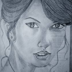beautiful taylor swift sketch (beautiful girl sketch), 8 x 12 inch, lalita ray,drawings,figurative drawings,paintings for living room,paper,pencil color,8x12inch,GAL042589688