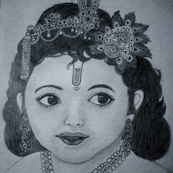little krishna sketch (lord krishna), 8 x 12 inch, lalita ray,radha krishna drawings,paintings for living room,radha krishna paintings,paper,pencil color,8x12inch,GAL042589690,lord,krishna,love,babykrishna,lordkrishna