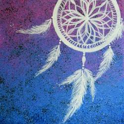dream catcher tiny canvas, 8 x 10 inch, srishti goyal,paintings,modern art paintings,paintings for bedroom,canvas,acrylic color,8x10inch,GAL041739691