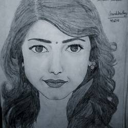 shruti haassan sketch, 8 x 12 inch, lalita ray,drawings,figurative drawings,paintings for bedroom,paper,pencil color,8x12inch,GAL042589692