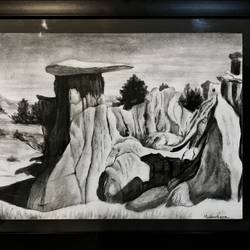 rocks, 17 x 12 inch, muskan rana,paintings,wildlife paintings,thick paper,charcoal,17x12inch,GAL037699702