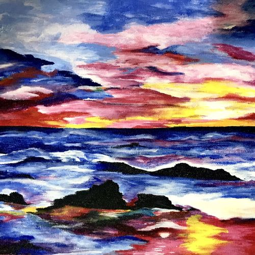 sunset, 17 x 12 inch, muskan rana,paintings,nature paintings,paintings for living room,canvas,acrylic color,17x12inch,GAL037699703Nature,environment,Beauty,scenery,greenery