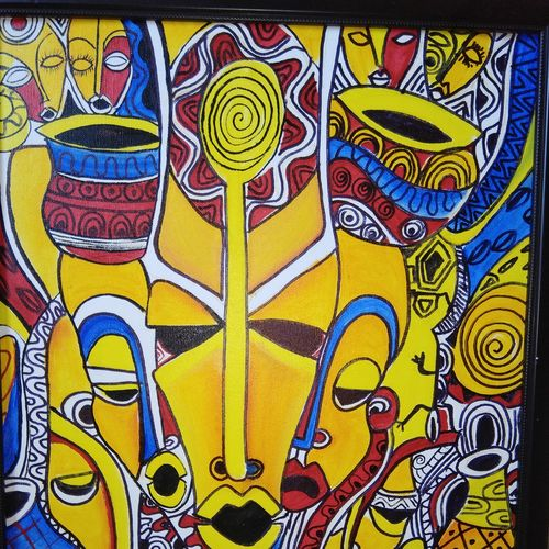 afro tribal mask, 24 x 24 inch, payal tripathi,paintings,abstract paintings,paintings for living room,canvas,acrylic color,24x24inch,GAL042559704