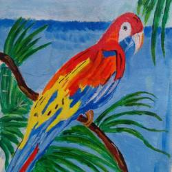the parrot, 12 x 16 inch, abhik mahanti,wildlife paintings,paintings for living room,canvas,acrylic color,12x16inch,GAL040449712
