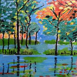 tall trees over the lake, 11 x 16 inch, abhik mahanti,paintings,landscape paintings,canvas,acrylic color,11x16inch,GAL040449714