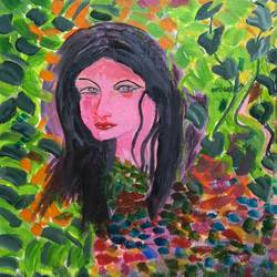 the woman in leaves, 12 x 16 inch, abhik mahanti,paintings,figurative paintings,paintings for bedroom,canvas,acrylic color,12x16inch,GAL040449716