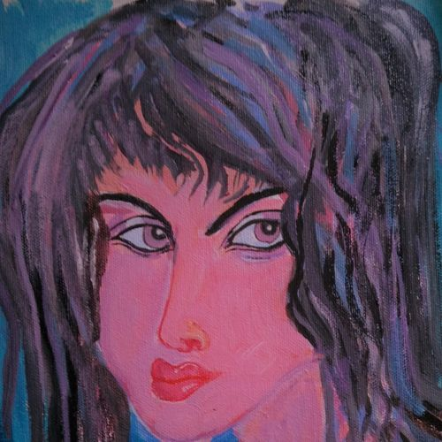 shower lady, 12 x 13 inch, abhik mahanti,paintings,figurative paintings,paintings for bedroom,canvas,acrylic color,12x13inch,GAL040449717