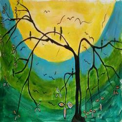 the birds in the tree, 16 x 10 inch, abhik mahanti,paintings,modern art paintings,paintings for living room,canvas,acrylic color,16x10inch,GAL040449718