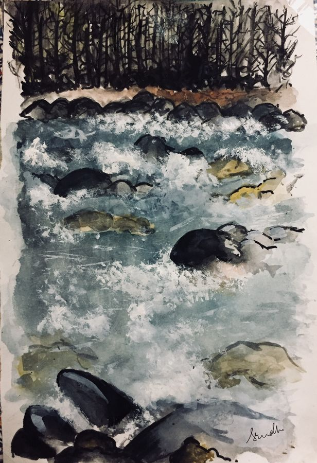 the gush of water, 7 x 11 inch, srinidhi srinivasan,paintings,nature paintings,paintings for living room,thick paper,watercolor,7x11inch,GAL042719724Nature,environment,Beauty,scenery,greenery