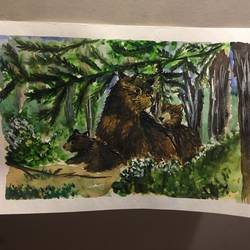 three wild bears, 7 x 11 inch, srinidhi srinivasan,paintings,nature paintings,paintings for living room,thick paper,watercolor,7x11inch,GAL042719726Nature,environment,Beauty,scenery,greenery