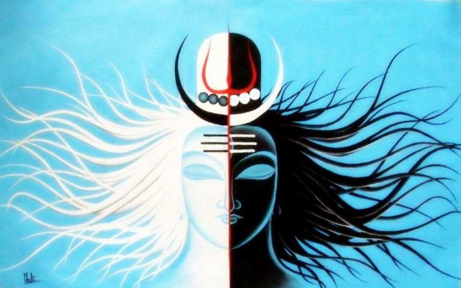 god and human, 28 x 20 inch, colorful art arts and crafts,figurative paintings,paintings for dining room,lord shiva paintings,canvas,acrylic color,28x20inch,GAL0393973
