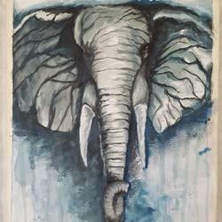 elephant.., 15 x 12 inch, kamta prasad sahu,wildlife paintings,paintings for living room,elephant paintings,cartridge paper,watercolor,15x12inch,GAL042749736