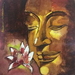 gautam buddha , 5 x 5 inch, roshan agarwal,paintings,buddha paintings,paintings for living room,brustro watercolor paper,watercolor,5x5inch,religious,peace,meditation,meditating,gautam,goutam,buddha,brown,lotus,face,GAL041309739