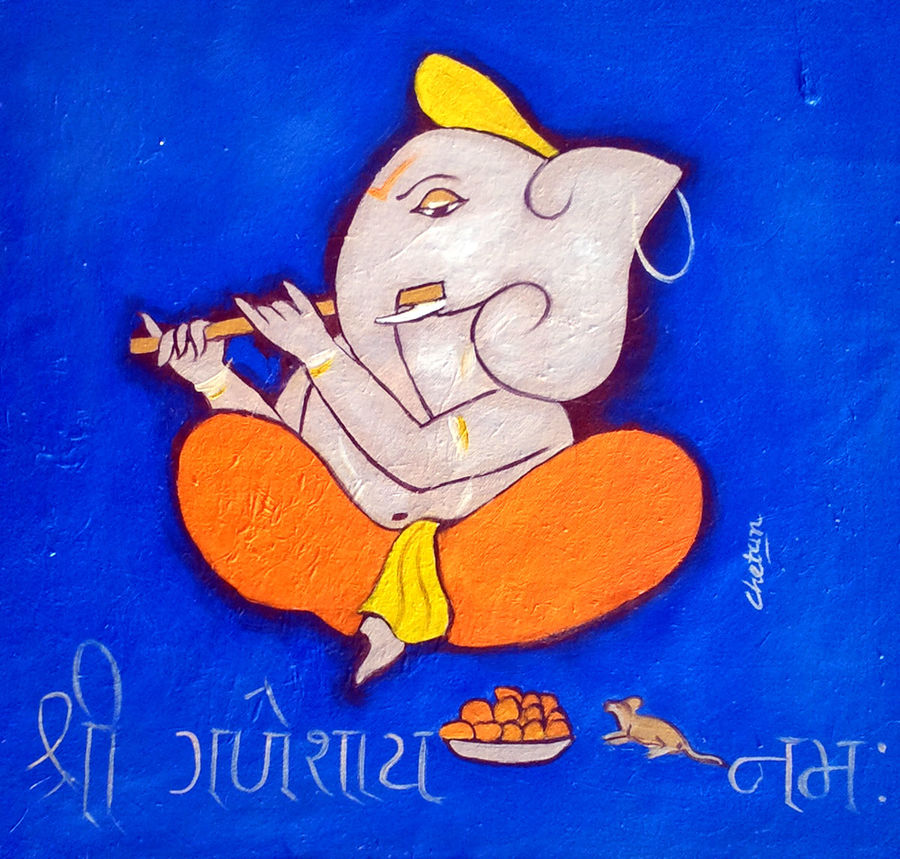 ganesha 6, 15 x 15 inch, chetan katigar,religious paintings,paintings for living room,ganesha paintings,canvas,oil,15x15inch,GAL0266974,vinayak,ekadanta,ganpati,lambodar,peace,devotion,religious,lord ganesha,lordganpati,ganpati,ganesha,lord ganesh,elephant god,religious,ganpati bappa morya,mouse,mushakraj,ladoo,sweets,flute,melody