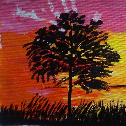 the sunset and the tree, 16 x 9 inch, abhik mahanti,paintings,landscape paintings,paintings for living room,canvas,acrylic color,16x9inch,GAL040449740