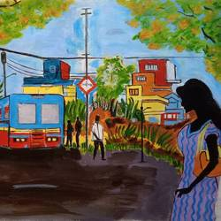 the bustop, 20 x 15 inch, abhik mahanti,paintings,cityscape paintings,paintings for office,canvas,acrylic color,20x15inch,GAL040449741