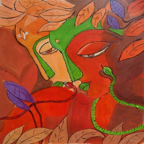 he and she, 12 x 15 inch, abhik mahanti,paintings,figurative paintings,paintings for bedroom,canvas,acrylic color,12x15inch,GAL040449742