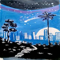 citylights, 12 x 16 inch, abhik mahanti,paintings,cityscape paintings,canvas,acrylic color,12x16inch,GAL040449743