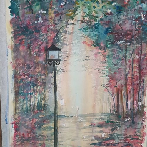 a.. winter morning, 15 x 12 inch, kamta prasad sahu,paintings,landscape paintings,paintings for living room,cartridge paper,watercolor,15x12inch,GAL042749747