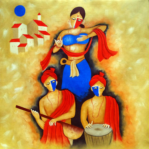 the indian culture , 30 x 30 inch, chetan katigar,figurative paintings,paintings for living room,canvas,oil,30x30inch,GAL0266975
