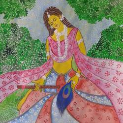 krishna's mate. , 8 x 12 inch, sushmita  jha ,religious paintings,paintings for living room,radha krishna paintings,cartridge paper,poster color,8x12inch,GAL025549754,radha,love,peace,flute,music,dance