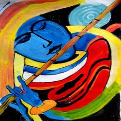 the flute, 8 x 12 inch, abhik mahanti,paintings,abstract paintings,paintings for living room,canvas,acrylic color,8x12inch,GAL040449756